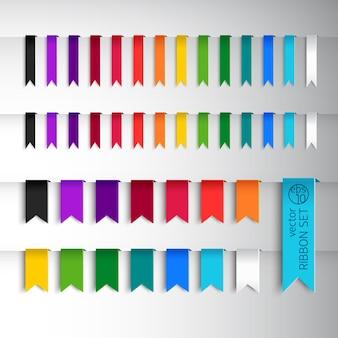 다양한 색상의 리본과 다른 스타일의 메가 컬렉션
