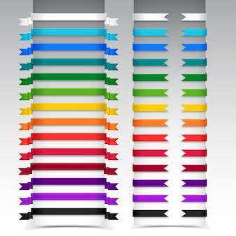 다양한 리본 색상과 모양 전체 및 부분의 메가 컬렉션