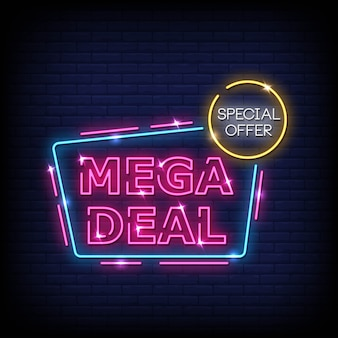 Mega deal neon signs style text