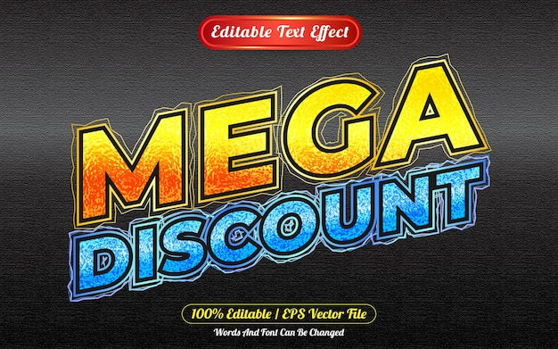 Mega discount editable text effect template style