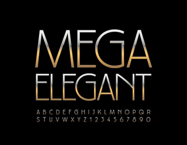 메가 우아한 알파벳 세트 프리미엄 골드 글꼴 세련된 스타일의 문자와 숫자