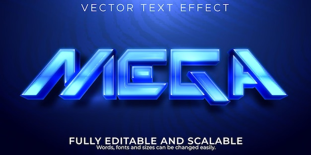 Mega futuristic editable text effect space and blue text style