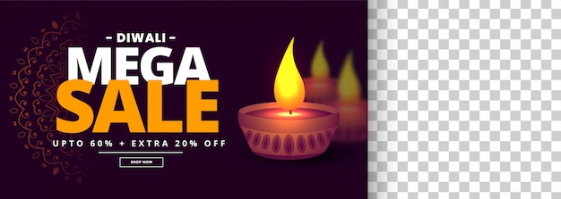 Mega happy diwali sale banner with image space