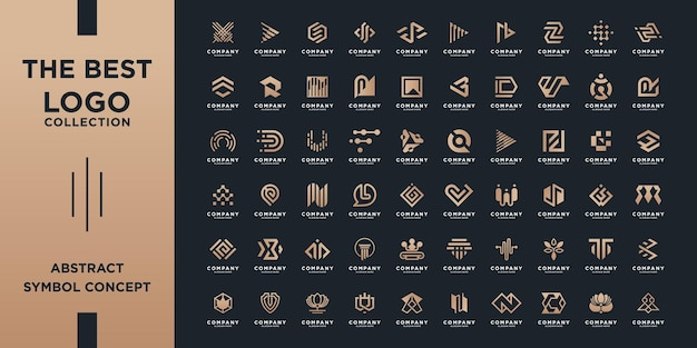 Mega logo collection, abstract design concept for branding with golden gradient.