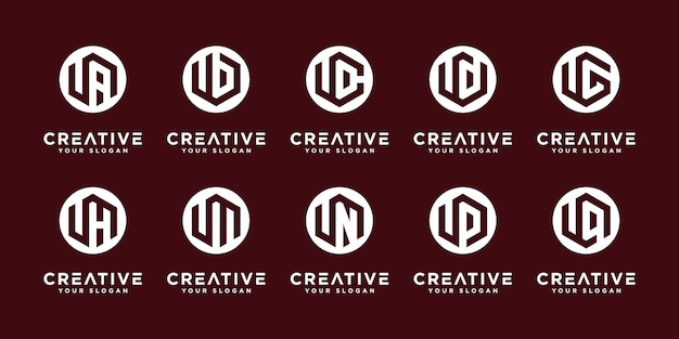 Mega logo collection u and etc monogram logo design template.