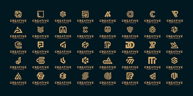 Mega logo collection a-z monogram logo design template. Premium Vector