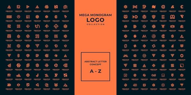 Mega 로고 모노그램, 이니셜, 알파벳 및 레터 로고 컬렉션 a-z