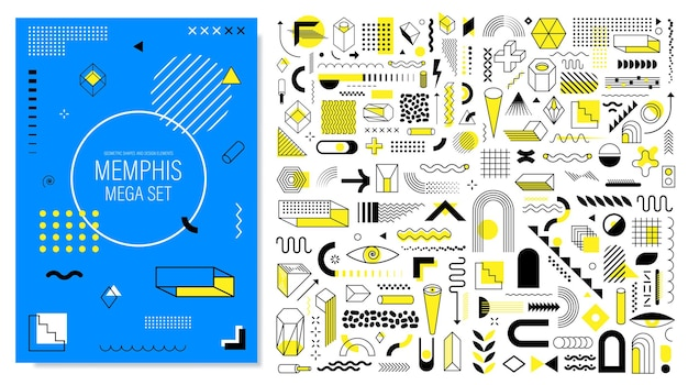 Mega memphis set of abstract trendy geometric shapes and design elements