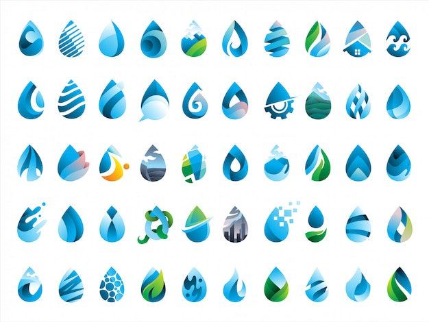 Mega pack of 50 water drops icon