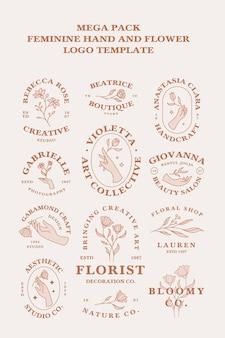 フェミニンな手と花のヴィンテージロゴセットテンプレートのメガパック