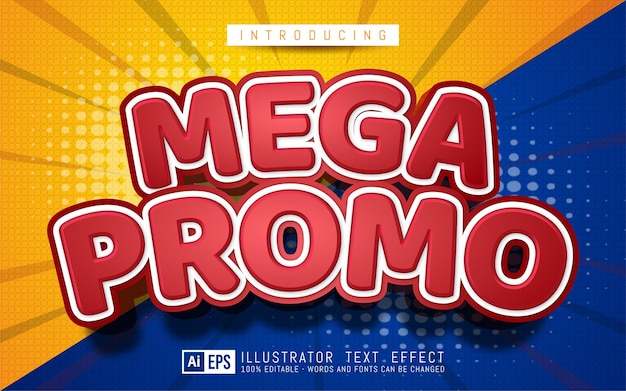 Mega promo text effect editable 3d text style suitable for banner promotion
