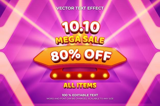 Mega sale 1010 editable 3d text effect with triangle shape purple color background