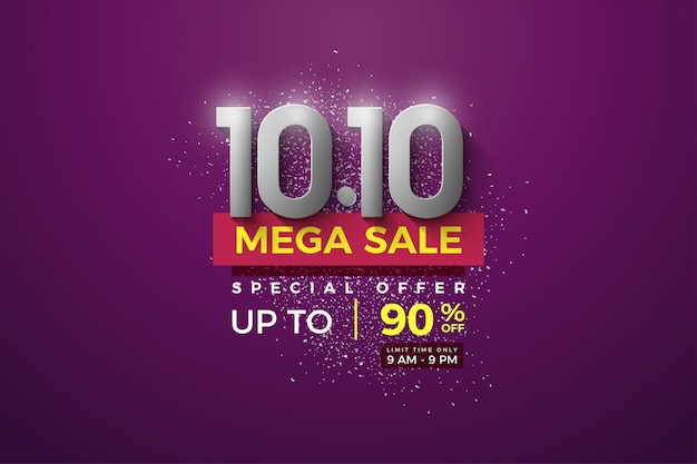 Mega sale at 1010 sales with silver number on purple background