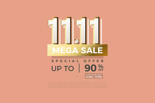 Mega sale at 1111 with modern numbers