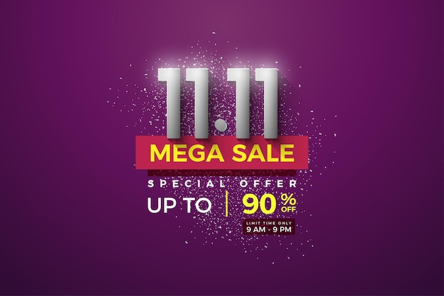 Mega sale at 1111 with silver numbers