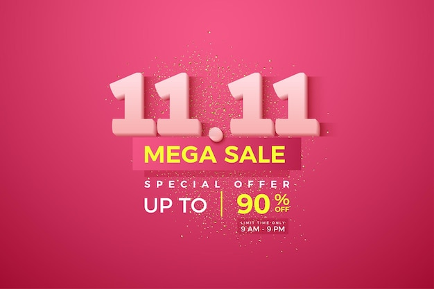Mega sale at 1111 with soft white numbers