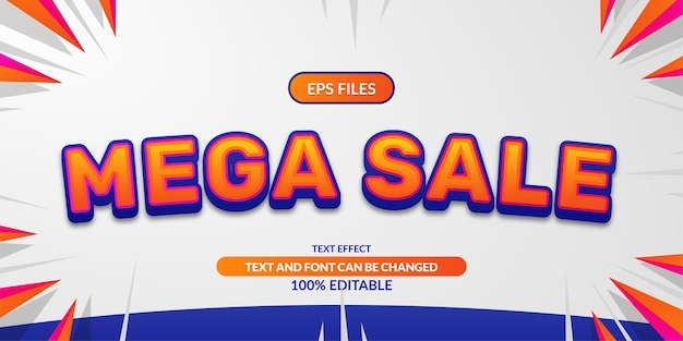 Mega sale 3d editable text effect. eps vector file. promotion discount advertising poster banner template