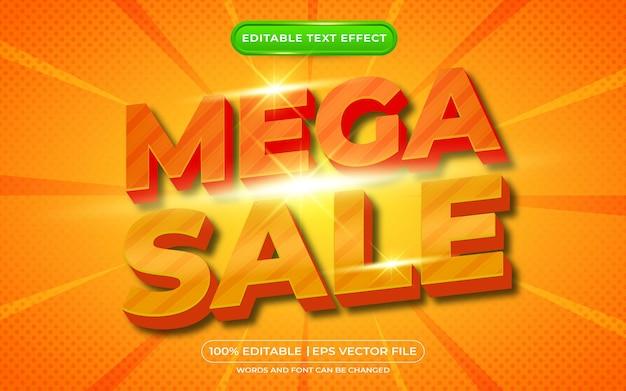 Мега распродажа 3d редактируемый текстовый эффект в стиле шаблона