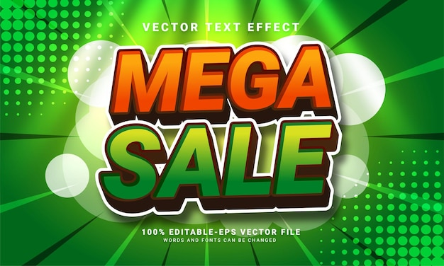 Mega sale 3d text effect, editable text style and suitable for promotion sales