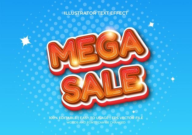 Mega sale текстовый эффект 3d в градации оранжевого цвета