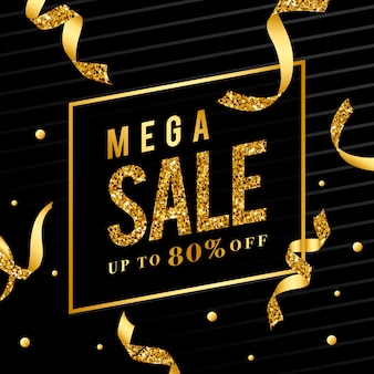 Mega sale 80% off sign vector