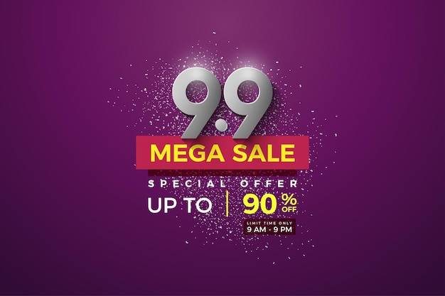 Mega sale at 99 sales with silver numbers on a purple background