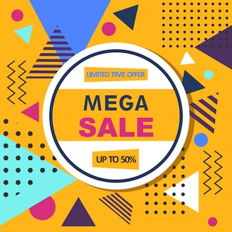 Mega sale abstract memphis style web banner.