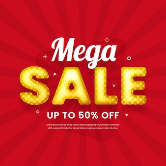Mega sale background in 3d design