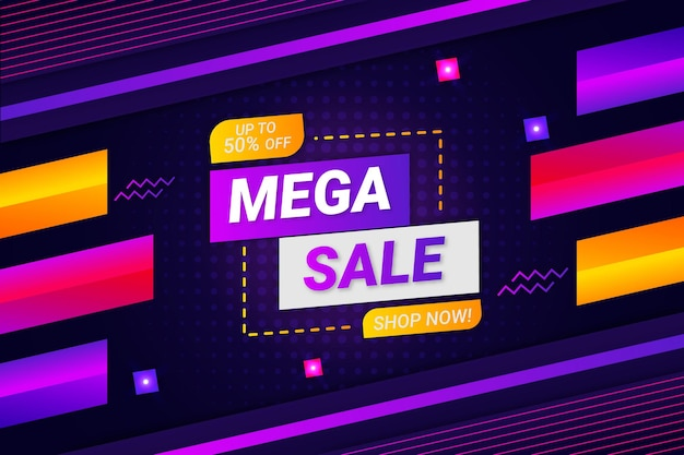 Мега продажи фон темно-фиолетовый стиль