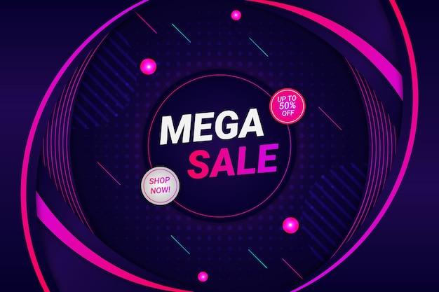 Mega sale background dark purple style