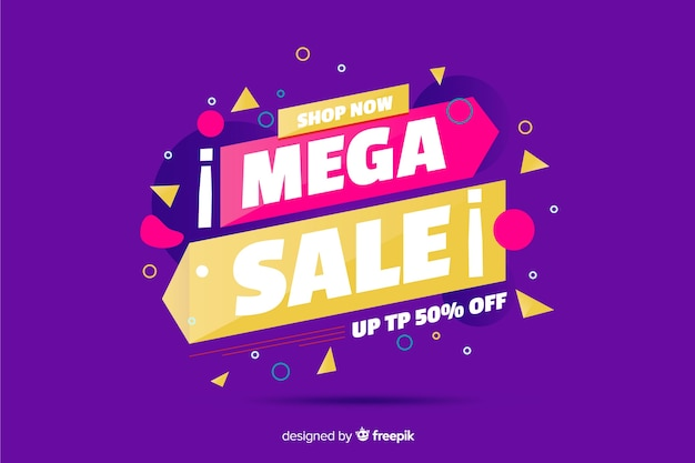 Mega sale background with memphis elements