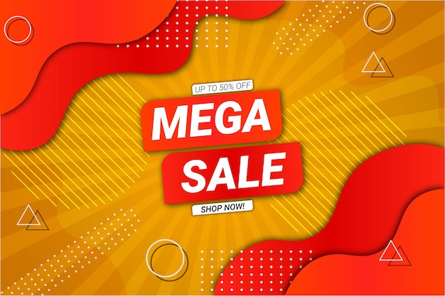Mega sale background yellow and orange fluid style