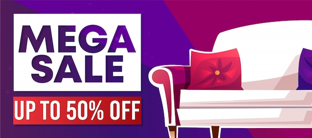 Mega sale banner or advertising poster for home furniture.
