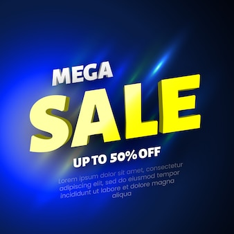 Mega sale banner on blue background.  illustration.