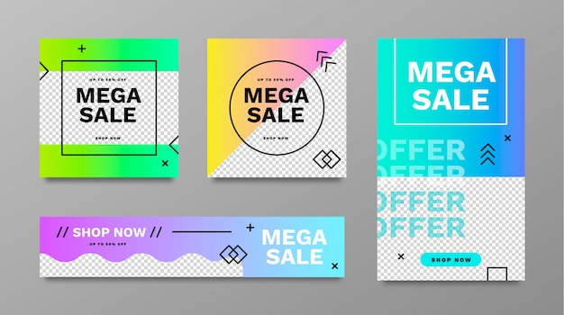 Mega sale banner collection with abstract shapes