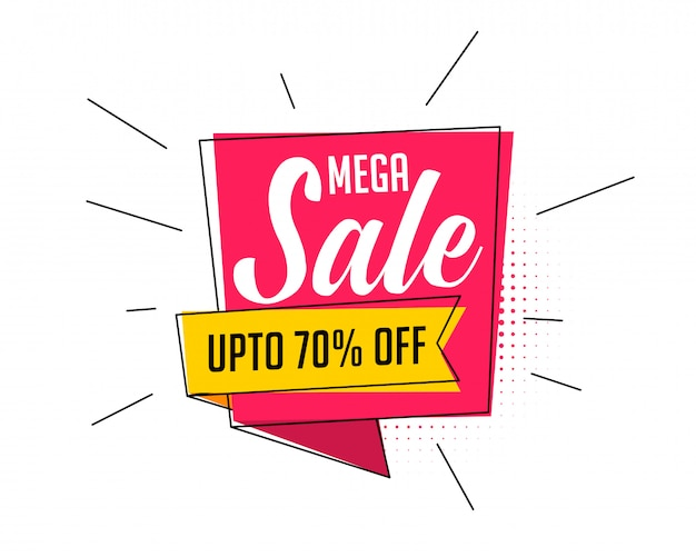 Mega sale banner in comic cartoon style