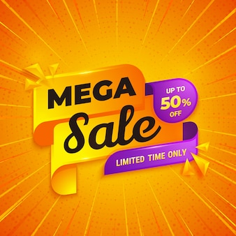 Mega sale banner design template with orange