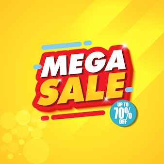 Mega sale banner design template with yellow background