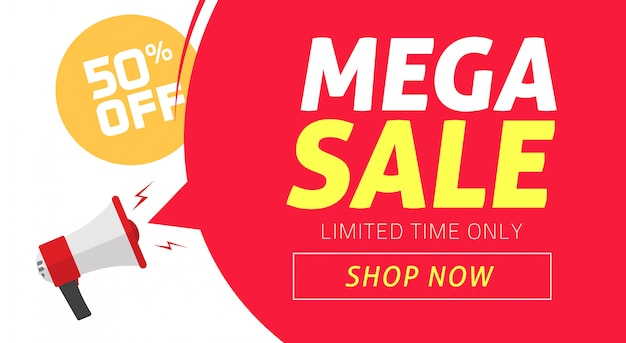 Mega sale banner design with off price discount offer tag and megaphone announce