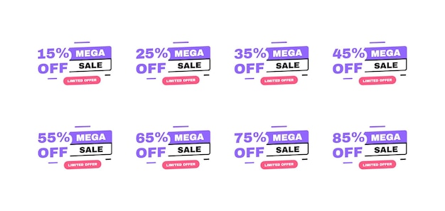 Mega sale banner design with sale tags. 15, 25, 35, 45, 55, 65, 75 and 85 percent off discount. banners template