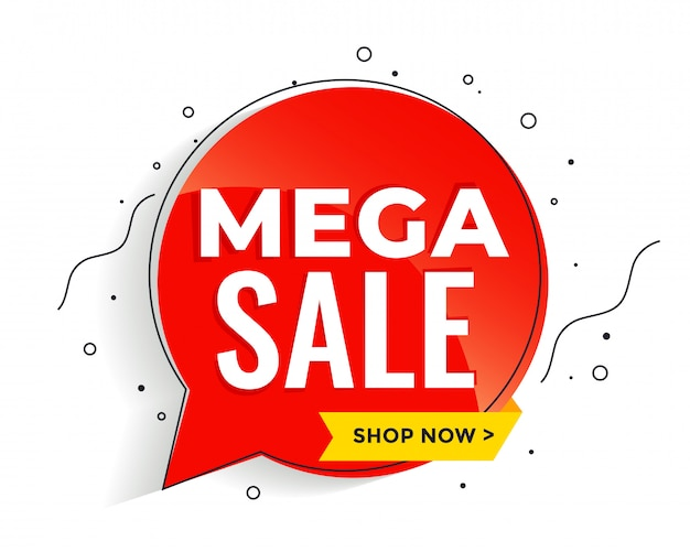 Mega sale banner in memphis style banner template