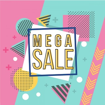 Mega sale banner in memphis style