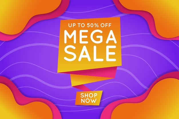 Mega sale banner in origami style