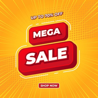 Mega sale banner in red sign with yellow background vector