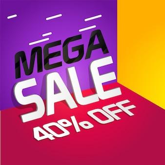 Mega sale banner, sale poster