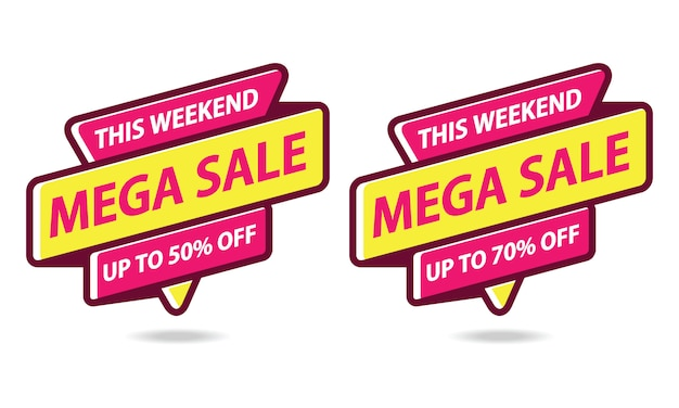 Mega sale banner sticker template vector