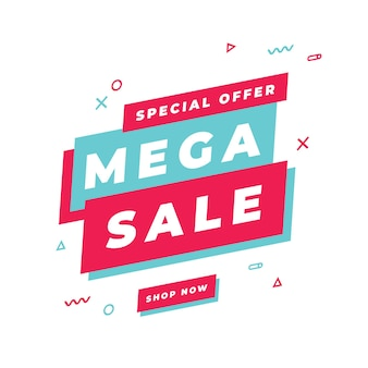 Шаблон баннера мега распродажа, специальное предложение большой распродажи. баннер со специальным предложением в конце сезона.