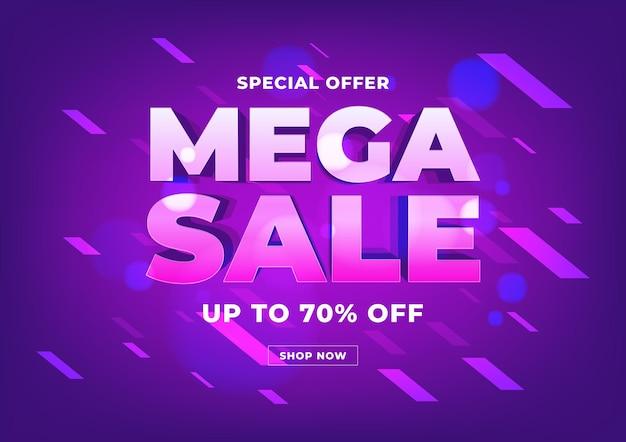 Mega sale banner template design, big sale special offer online shopping banner.