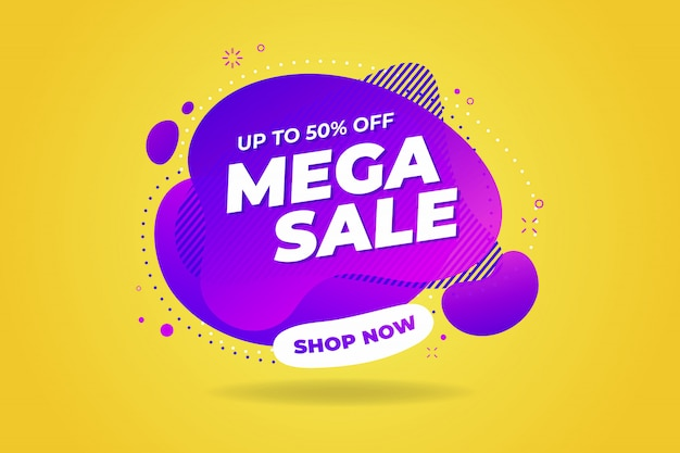 Mega sale banner template design.