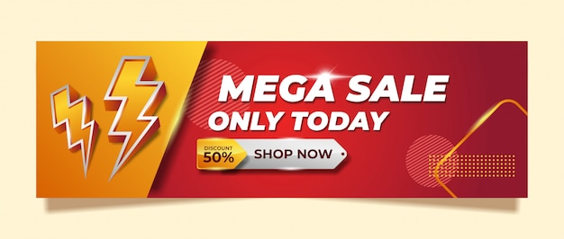 Mega sale banner template design